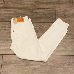 NWT Levi's 36x32 White Slim Taper Distressed Jeans